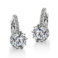 2014 Trendy fashion women sliver plated clear cubic zirconia wedding dangle drop earrings Brincos Bijoux Gift(Min order $8)