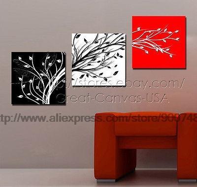 Resumo dos ramos de árvore Art Red Black White Modern Canvas Et pronto para pendurar Pintura a óleo Chastity Prata Wall Art Deco(China (Mainland))