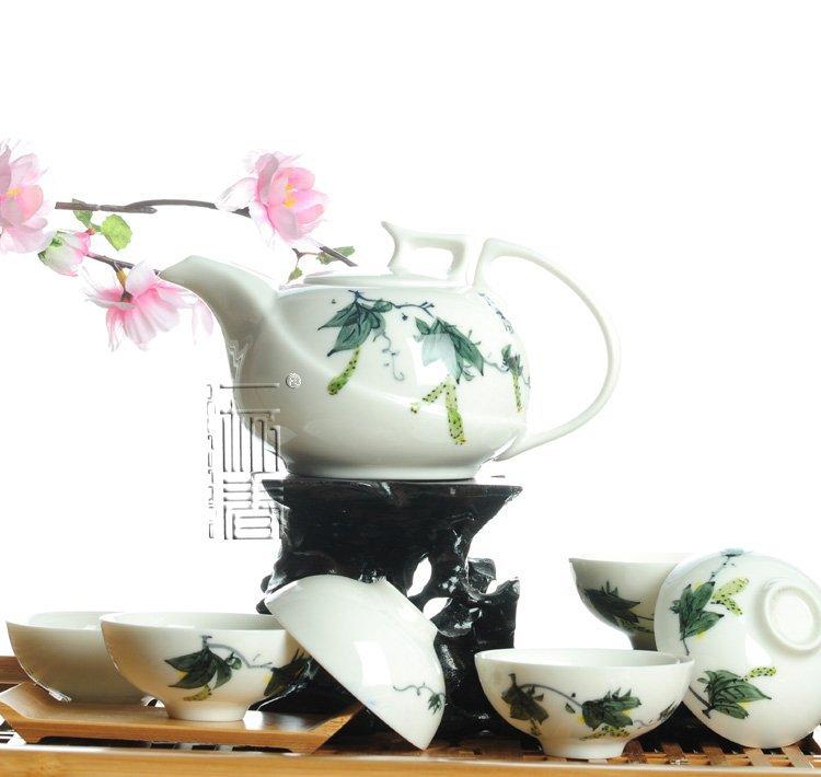 7pcs Deluxe Tea Set Porrtery Teaset Loofah A3TY02 Free Shipping