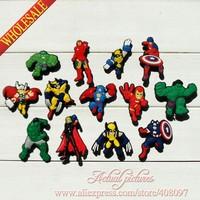 Kids Party Gifts  Avengers 65PCS/SET  Kids PVC Shoe Charms/PVC Shoe Decoration/Shoe Ornament  for Silicone Wristband/Bracelets