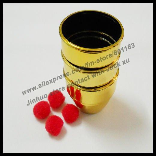 Magic three cups and balls magic trick,3pcs,magic set wholesale(China (Mainland))
