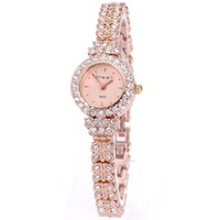 King Girl Royal Rose Gold Bracelet Watch Women Top Brand Unique Full Crystal Diamonds For Ladies Quartz Round Watch