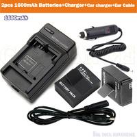 Free shipping 1600mAh bateria akku AHDBT-301 302 AHDBT301 + EU charger + car charger KIT for GoPro go pro Hero 3 3+ accessories