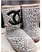 2013 winter women Snow boots waterproof genuine leather boots brand fashion shoes australian sheepskin boots rhinestone boots