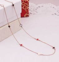 women's 18k rose gold necklace four leaf clover chokers necklaces multi elements girlfriend gifts