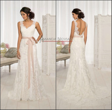 Vintage wedding dress 2014 a sleeveless lace beach bridal dress(China (Mainland))