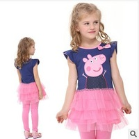 One Pcs! H4555# Peppa pig girl's dress baby girls pepe pig dresses children Fashion clothing Kids cartoon wear child girl
