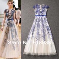 New 2014 women spring summer runway fashion organza embroidery blue white sheer dresses floor length long maxi vintage dress