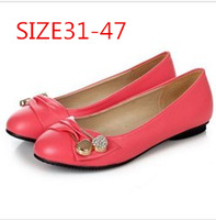 2014 New arrival Big size 31-47 Spring Women flats Round toe Soft leather Floral Sequined Sweet Casual 5 Color QL3173