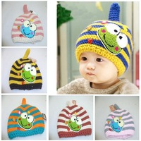 Free Shipping 2014 Winter Baby Boy Girl Fashion Cartoon Pattern Hat, Ear Protect Warm Knitted Children Cute Lovely Beanies 7351