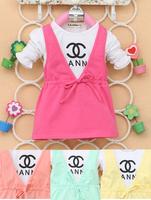 Hot Sale New 2014 autumn Children Clothng Baby Girls Clothes Girl Dress Kids Dresses double X Dress Free Shipping 4pcs/lot