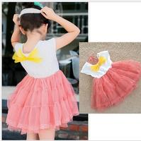 wholesales 2014 new arrival summer Children cotton lining baby girl cute flower princess dress shortsleeve kid clothes 5pcs/lot