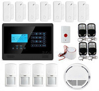 Free Shipping DIY Wireless&wired GSM SMS Home Security Alarm System +4PIR Sensors+ Smoke Sensor+Panic Button
