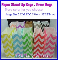 Chevron Stripes Polka Dot Stand Up Paper Bags -Set of 25- Candy Buffet, Party Favor, Wedding Favor - 5 x 9 Flat Bottom Bags