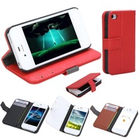 Free shipping Fashion Wallet Case Flip Leather Case Cover Stand with Card Holder for iPhone 4 4s Black Red White & Brown