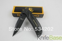 Browning Folding knife 338 small Falcons (black) 440C 57HRC steel + aluminum + wood handle pocket knife  1pcs/lot free shipping
