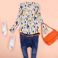 The new spring 2014 women European and American big yards retro thin long-sleeved pop Geometric grid  loose shirt female blouse