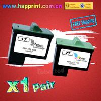High Quality Replace Ink Cartridge 10N0017 10N0027 for Lexmark 17 27 for X1150 X1270 X2250 X75 Z13 Z23 Z25 Z33 Z35 Z515 (1Pair)