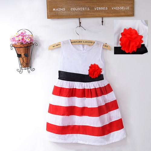 new summer Baby Girl Flower Dresses Sundress comfor Princess Toddler red Striped girls Dress(China (Mainland))