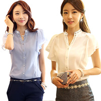 summer 2014 women ol fashion short sleeve blouse shirt casual female chiffon shirt top chifon camisa blusas camicetta