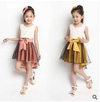 Retail 1 Pcs Summer 2014 Kids Clothes Girl Dress Sleeveless Solid Big Bowknot Asymmetric Lace Girls Casual Princess Dress CCC338