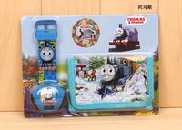 free & drop shipping 1pcs retail hot cheap price projection thomas cartoon kids boys gifts quartz wrist watch+wallet/purse