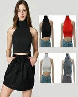 Crochet Blouse American apparel aa turtleneck sleeveless body  t-shirt short design navel vest  vestido tropical Cropped Tops