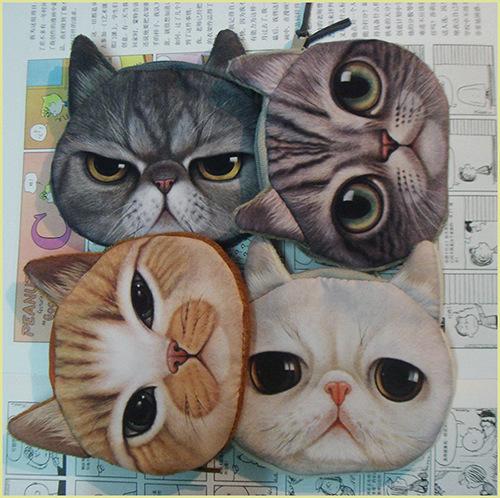 free shipping fashion coin purses cat change purse cute coin purse bag women wallets. women clutch(China (Mainland))