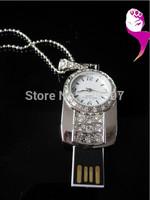 Jewelry Watch USB Flash Drive Real 2GB 4GB 8GB 16GB 32GB OEM metal clock USB flash stick Christmas Gift Free Shipping F-H082