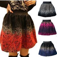 2014  Autumn Winter Woman Bud Skirt Fashion Woolen Skirts Knitted Wool Applique Ball Gown Short Skirt For Woman