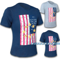Free Shipping Hot 2014 Spring&Autumn New Brand Fashion The British National Flag printing Short Sleeve T-shirt Men's Casual Tee