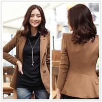 2014 korean new fashion OL elegant long sleeve women blazers brown slim female blaser femininas chaqueta casaco abrigos