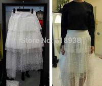 2014 summer fashion dot sheer irregular casual skirt tulle girls skirts women ruffles floor-length black white skirt 0117