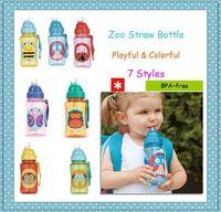 Free Shipping hop Zoo Flip Straw Bottles BPA-Free 100% TRITAN kids toddlers school kindergarten sports cartoon water bottle cups