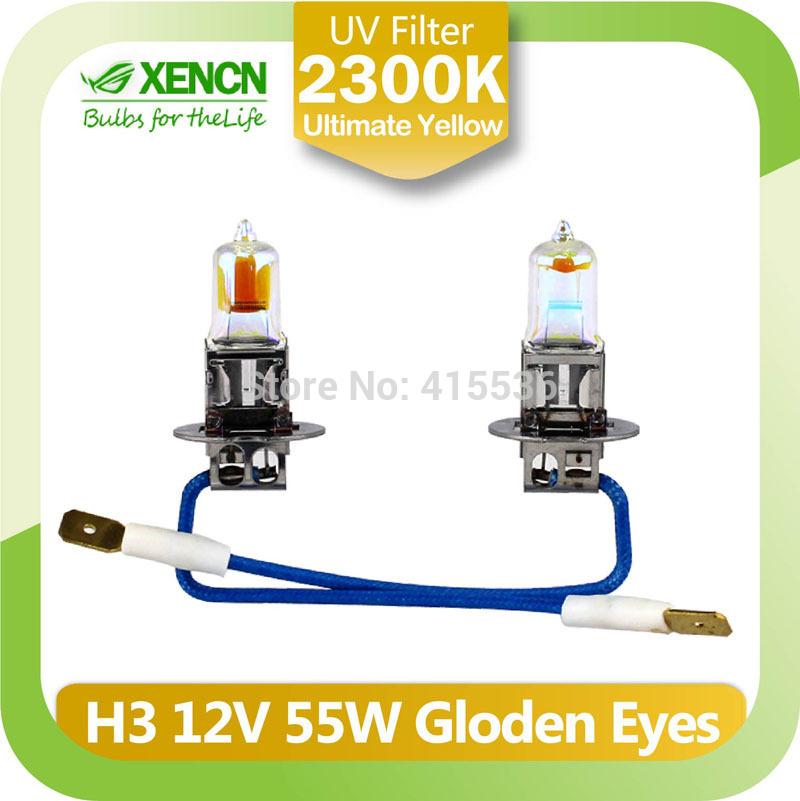 New XENCN H3 2300K 12V55W Golden Eyes Super Yellow Original Line Car Halogen Fog Light OEM Quality Auto Lamp Free Shipping 2PCS(China (Mainland))