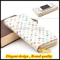 Italian designer Floral leather handbag wallets for women single zipper billetera lady flower purse QR-1349