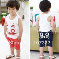 Hot Sale cute cotton baby/boys/girls clothing sets vest & half pants 2pcs kids suits kitty design navy blue orange 5sets 625037
