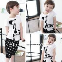 Promote sale Children cotton sports suits boy girl clothing sets short sleeve t shirts & half pants cute giraffe dot  625041