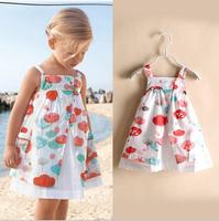 European Style 2014 Summer hot fashion children dress, pure cotton american girls dress, flower kids one-piece dress girl