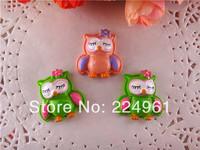 2014 new arrival 25*25mm kawaii owl resins flatback  for hair bows flat back hairbows 10pcs/lot