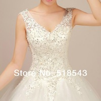 Free shipping 2014 new arrive Pearl lace bride wedding dress Lace Ball formal dress double-shoulder spaghetti strap plus size