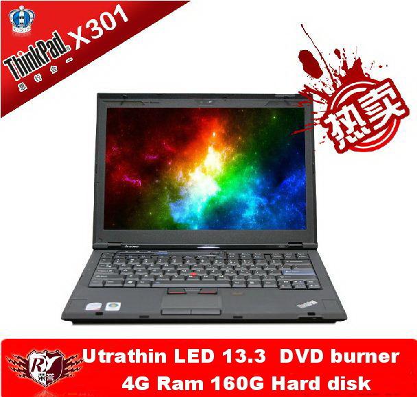 Used laptop lenovo Thinkpad X300 Core Duo L7100 1.2G 4G/128G SSD 13-inch LED widescreen DVD Burner ultrathin Wifi Webcam(China (Mainland))