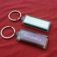 Solar Power Flashing English name fashion keychain logo customized LCD blinking key-ring/keyholder/promotional gifts