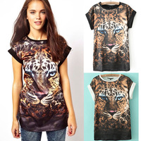 New Fashion 2014 Women Leopard Printed Chiffon T Shirt O-neck Short Sleeve Summer Blouse Tops for Woman