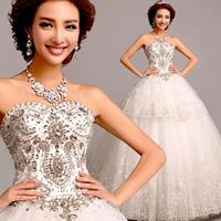 Cii's Korean version of the Diamond Princess Bride Bra straps lace wedding dress