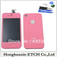 Pink For iPhone 4S  LCD Touch Screen Digitizer Assembly With Glass Back Housing & Home Button&opening tool