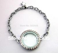 5pcs Magnetic floating locket Bracelets Rhinestone Round shape floating charm locket Free shipping