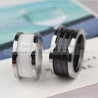 Fashion luxury brand black white ceramic ring stainless steel titanium silver ring women men couples promise ring jewelry bijoux
