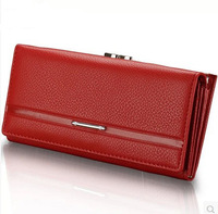 2014 Hot selling fashion cowhide genuine leather  women's  long design wallet  hasp vintage multi card holder purse