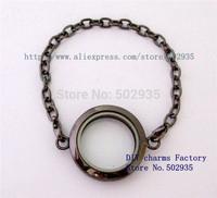 5pcs Magnetic floating locket Bracelets Zinc Alloy Round shape floating charm locket Free shipping
